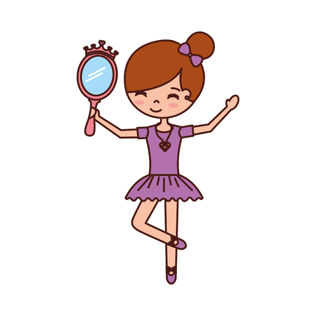 little girl dancer ballet holding crown mirror vector illustration