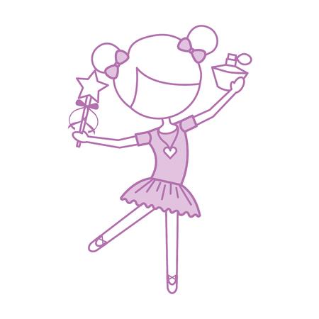 어린 소녀 댄서 발레 지주 마술 지팡이 병 향수 벡터 일러스트 레이션 일러스트