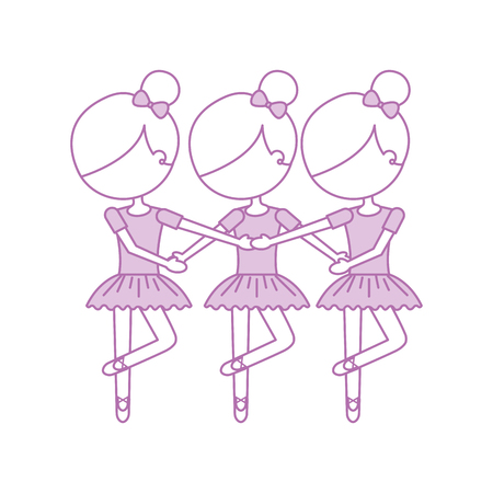 three girls dancing ballet classic practice vector illustration Ilustração