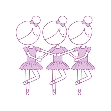 Três meninas dançando ballet clássico prática ilustração vetorial Foto de archivo - 88525222