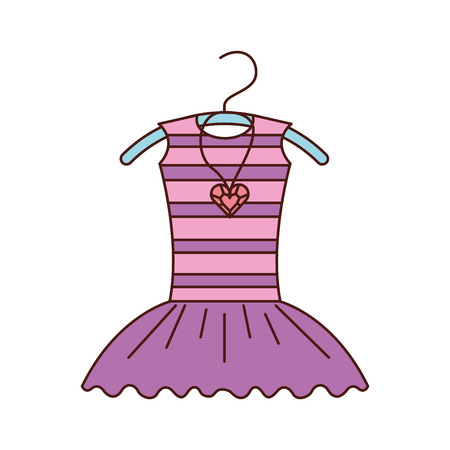 pink tutu ballet and necklace on the hanger costume vector illustration Illustration