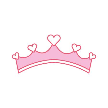 심장 보석 벡터 일러스트와 핑크색 여자애 공주 왕족 왕관 일러스트