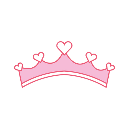pink girly princess royalty crown with heart jewels vector illustration