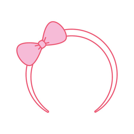 cute pink headband with bow for small girl icon vector illustration Çizim