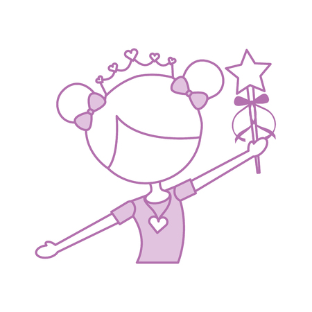 little girl dancer ballet holding magic wand vector illustration 向量圖像