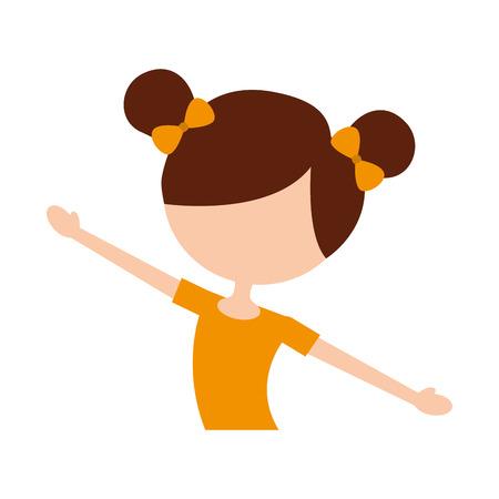 귀여운 작은 발레리 나 클래식 댄스 의상 벡터 일러스트 레이 션의 초상화 일러스트