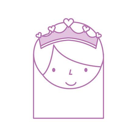 かわいい小さな少女バレリーナ漫画文字ベクトル図に直面  イラスト・ベクター素材