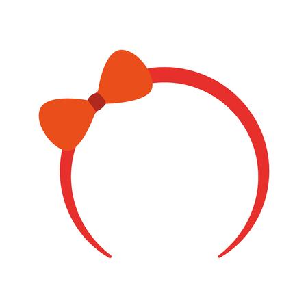 Carino headband con l'arco per la piccola illustrazione vettoriale icona della ragazza Archivio Fotografico - 88525340