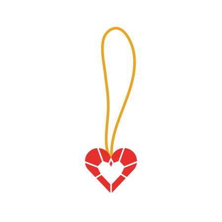 공주 소녀 벡터 일러스트 레이션을위한 귀여운 목걸이 심장 보석