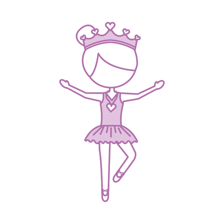 Little girl danced ballet with tutu dress and crown vector illustration.