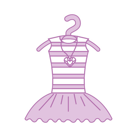Pink tutu ballet and necklace on the hanger costume vector illustration.