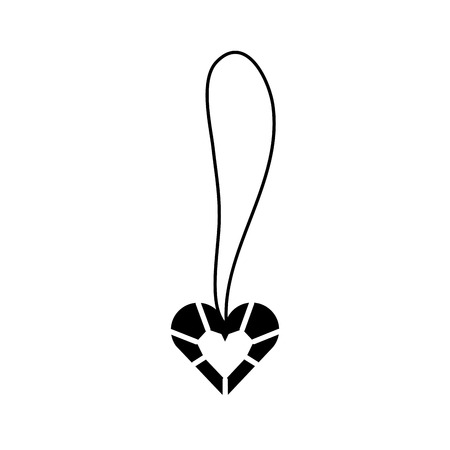 Cute necklace heart jewelry for princess girl vector illustration. 向量圖像