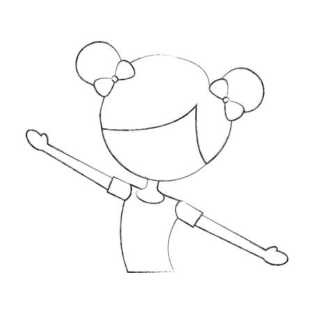 Mignon personnage de petite fille de bande dessinée de personnage de ballerine vecteur illustration Banque d'images - 88525349