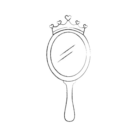 crown princess magical mirror with hearts vector illustration