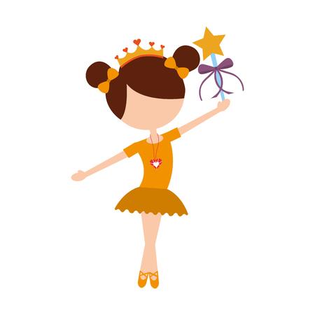 Ballet de bailarina de niña pequeña celebración de ilustración de vector de varita mágica Foto de archivo - 88525394