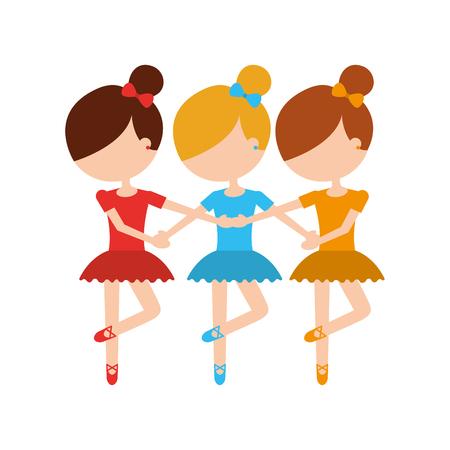 Tres chicas bailando ilustración de vector de práctica clásica de ballet Foto de archivo - 88525397