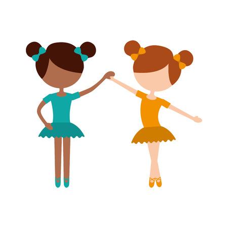 two ballet girl dance standing in pose vector illustration
