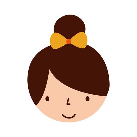 schattig gezicht klein meisje ballerina cartoon karakter vector illustratie