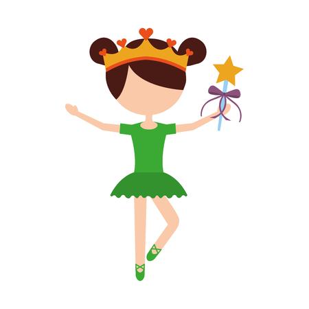 little girl dancer ballet holding magic wand vector illustration Ilustrace