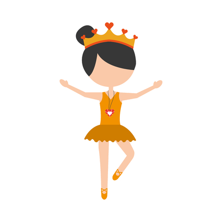 the little girl danced ballet with tutu dress and crown Ilustrace