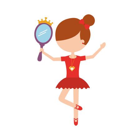 little girl dancer ballet holding mirror vector illustration