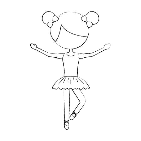 La petite fille a dansé ballet avec robe tutu et illustration vectorielle de cheveux chignon Banque d'images - 88525482