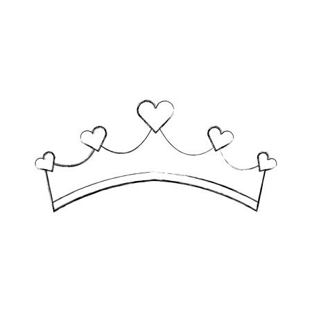 하트 보석 벡터 일러스트와 여자 친애하는 왕자 왕관