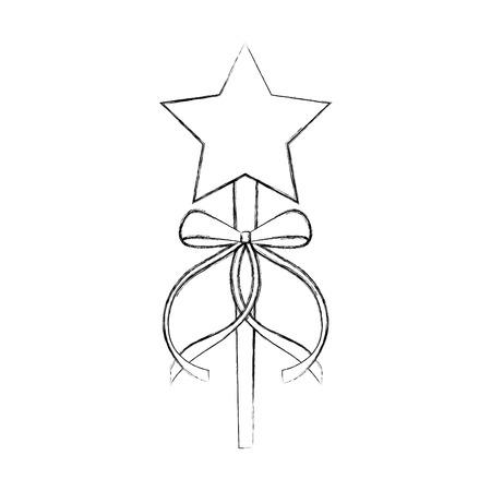 princess wand with bow ribbon decoration vector illustration Stok Fotoğraf - 88525539