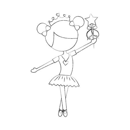 Little girl dancer ballet holding magic wand 向量圖像