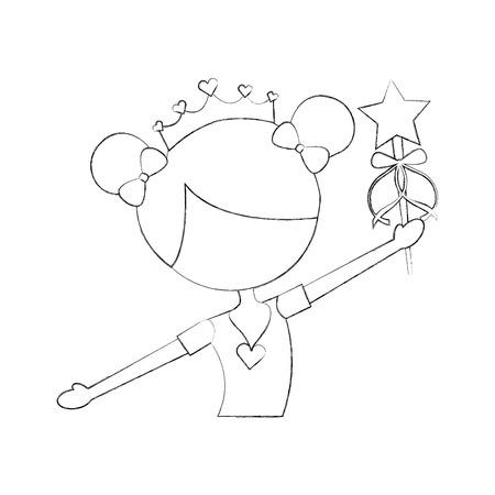 Little girl dancer ballet holding magic wand Çizim