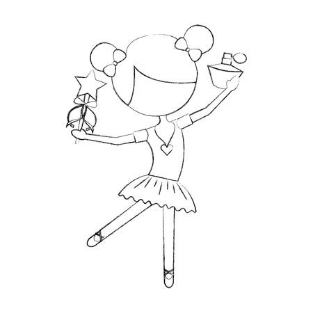 little girl dancer ballet holding magic wand and bottle perfume vector illustration