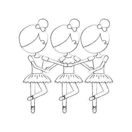 Tre ragazze che ballano l'illustrazione classica di vettore di pratica di balletto Archivio Fotografico - 88537319
