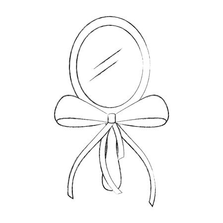 cute princess mirror with ribbon bow decoration vector illustration