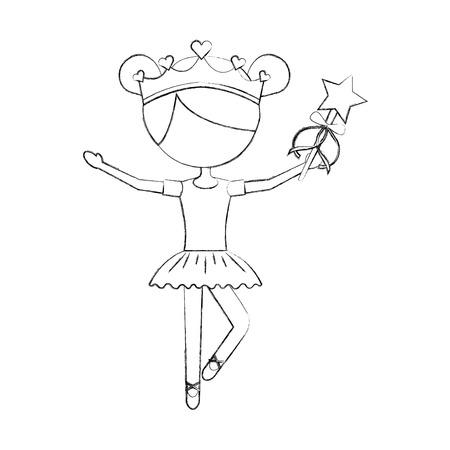 little girl dancer ballet holding magic wand vector illustration 向量圖像