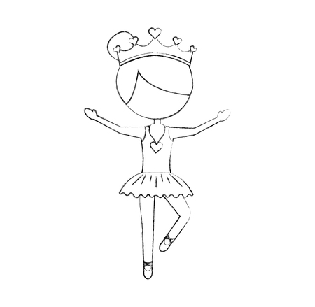 the little girl danced ballet with tutu dress and crown vector illustration