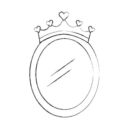 crown mirror princess decoration accessory vector illustration