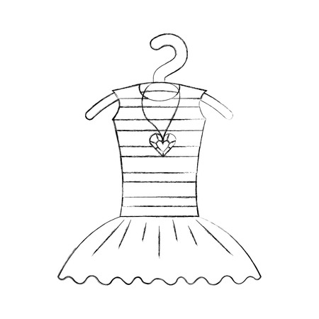 tutu ballet and necklace on the hanger costume vector illustration Illustration
