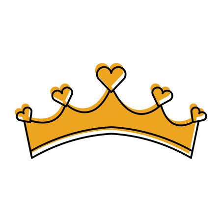 girly princess royalty crown with heart jewels vector illustration