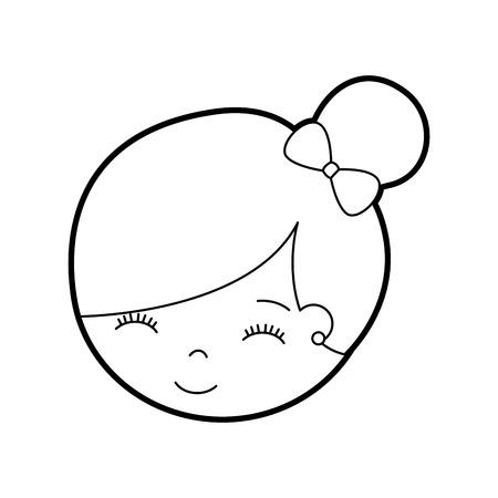 cute face little girl ballerina cartoon character vector illustration Иллюстрация