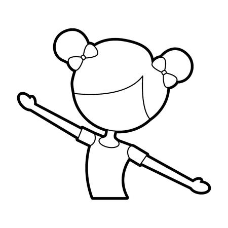 El retrato de una ilustración de vector de traje de bailarina clásica linda pequeña bailarina Foto de archivo - 88547245