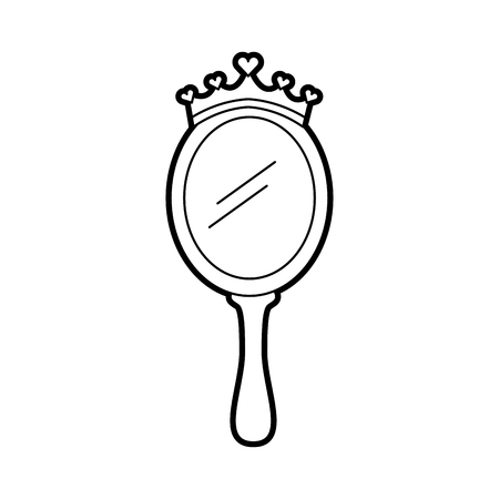 crown princes magical mirror with hearts vector illustration