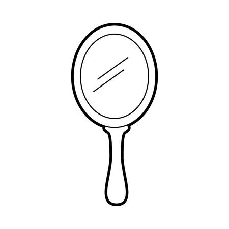 princess mirror glass handle accessory vector illustration