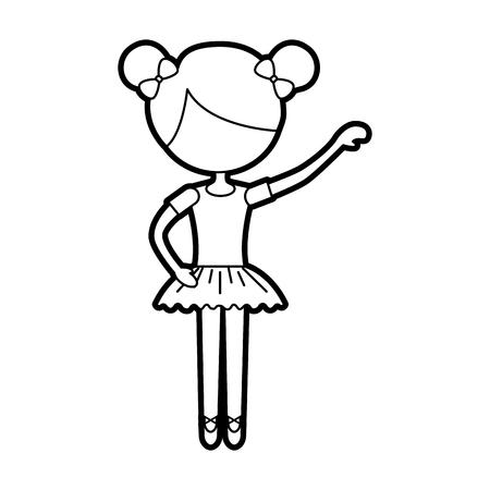 La petite fille a dansé ballet avec robe tutu et illustration vectorielle de cheveux chignon Banque d'images - 88547254