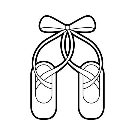 paar pointe ballet schoenen pantoffels pictogram vectorillustratie Stock Illustratie