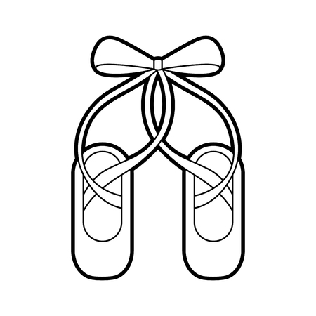 pair pointe ballet shoes slippers icon vector illustration