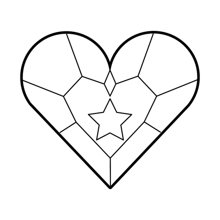 Jewellery heart star pendant luxury fantasy vector illustration