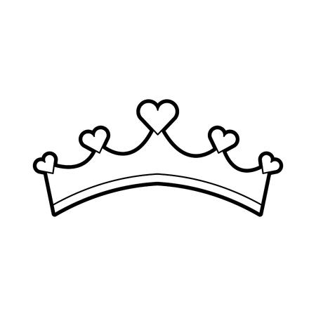 Girly Prinzessin Abgaben Krone mit Herz Juwelen Vektor-Illustration Standard-Bild - 88558158