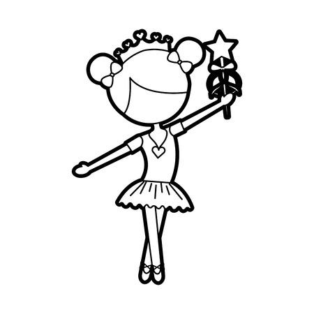 little girl dancer ballet holding magic wand vector illustration Illustration