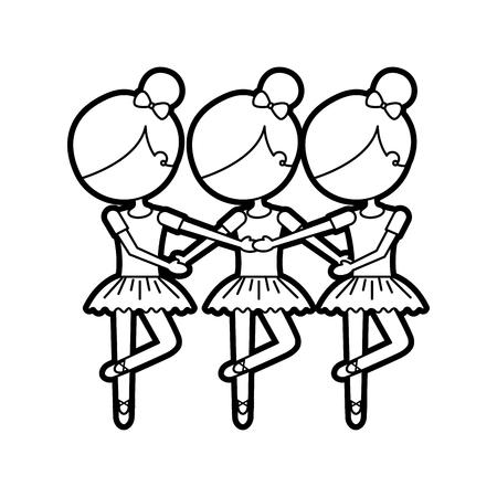 three girls dancing ballet classic practice vector illustration 向量圖像