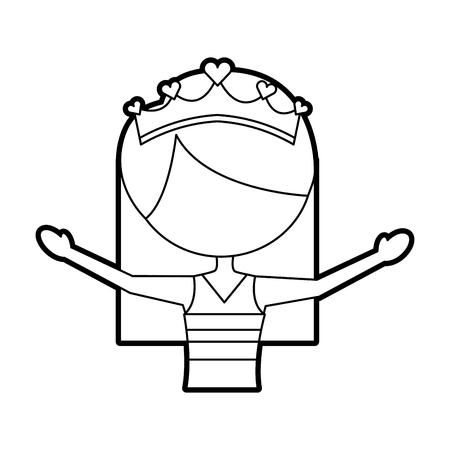 the portrait of a cute little ballerina classical dance costume vector illustration